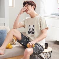 夏季纯棉情侣短袖睡衣短裤男女士家居服休闲卡通套装熊猫韩版