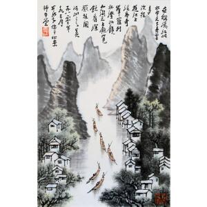 近代杰出的画家、诗人   李可染款《漓江泛舟》