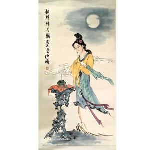 乡下收购老画1965年毕业于中央美术学院的中国画一级书画师白伯骅(貂蝉拜月)9