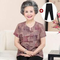 中老年女装夏季套装老奶奶夏装两件套60-70-80岁老太太短袖T恤女