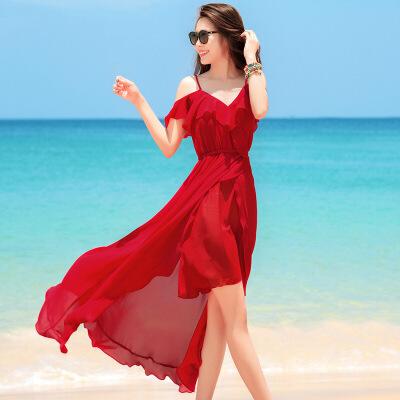 欧美女装巴厘岛红色沙滩裙海边度假仙女显瘦白色吊带连衣裙夏波西米亚长裙 西班牙女郎 红色