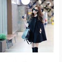 欧美时尚气质大码秋冬装斗篷蝙蝠袖毛呢外套女呢子大衣潮韩版无袖 黑色