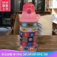 宝宝神算防摔硅胶杯身创意儿童吸管杯便携不锈钢保温杯乐趣喝水壶