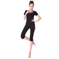 广场舞服装瑜伽服女套装短款跑步健身服跳操服夏季新款莫代尔