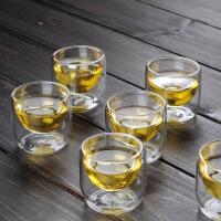 功夫茶具加厚花茶杯双层防烫耐高温玻璃杯隔热真空个人杯子小茶杯 双层竹节杯6个装
