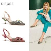 【领券减100】迪芙斯(D:FUSE)女鞋2019春专柜同款趣味装饰格纹中后空凉鞋女DF91114138