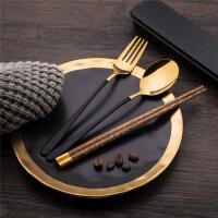 筷子勺子套装木质收纳叉子盒便当三件套单人学生上班族餐具便携式