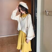 小清新秋冬套装毛衣女半身裙洋气网红很仙的宽松针织两件套裙 S 建议90斤以下
