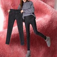 秋冬高腰牛仔裤女装加绒加厚高弹紧身百搭小脚裤松紧腰黑色长裤子 25 XS (70-85)斤