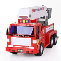 模型救火车儿童玩具车3-6周岁男孩升降云梯车消防车工程车