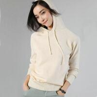 2018秋款羊毛衫长袖韩版打底宽松连帽女外套针织毛衣卫衣时尚百搭