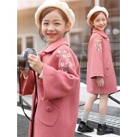 女童呢子大衣2018新款韩版洋气儿童装大童中长款女孩秋冬毛呢外套