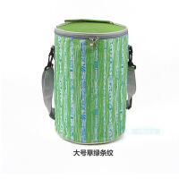 条纹波点便当包圆形保温桶包冰包上班族带饭包手提圆筒饭盒袋S
