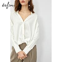 [7折超品价:787]伊芙丽衬衫女2020新款春雪纺锁骨上衣心机设计感小众真丝气质衬衣