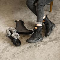 玛菲玛图冬季雪地靴女短筒加绒加厚真皮马丁靴羊皮毛一体系带机车靴5311-42YML