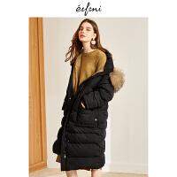 伊芙丽冬装新款大毛领休闲时尚宽松连帽长款过膝羽绒服外套女