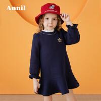 安奈儿童装女童喇叭袖时尚连衣裙2019冬装新款简约裙子洋气公主裙