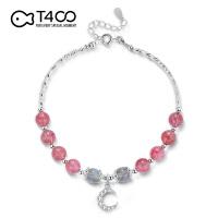 T400手链草莓晶清新925银月亮甜美