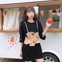 洛丽塔Lolita韩版时尚外搭收腰工装小吊带背心马甲+色中长款T恤两件套女夏潮 均码