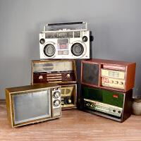 复古怀旧老式铁皮收音机电视机模型摆件拍摄影道具装饰