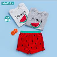 【1件35折】巴拉巴拉旗下马卡乐夏新款男童衣服西瓜印花纯棉短袖T恤套装