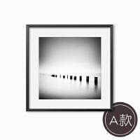 北欧现代客厅装饰画卧室办公室酒店挂画咖啡餐厅壁画黑白风景墙画 70cm*70cm 黑色画框[木质] 单幅价格,请