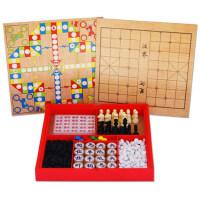 早教益智玩具6-10-12岁儿童木制多功能国际象棋围棋军飞行棋