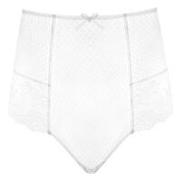 性感透明蕾丝高腰收腹提臀内裤女士波点镂空情趣内衣服 白色【单条高腰内裤】 S