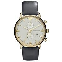 Armani阿玛尼 时尚商务真皮玫瑰金男士石英手表AR0386