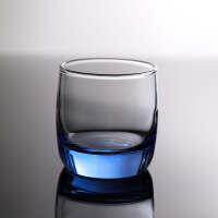 创意蓝色圆形玻璃水杯酒店餐厅茶杯酒杯水杯漱口杯洋酒杯威士忌杯