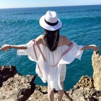 普吉岛海边度假沙滩裙女夏巴厘岛三亚旅游超仙显瘦雪纺吊带连衣裙 白色