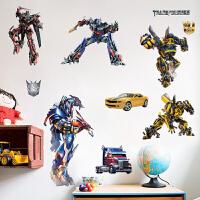 变形金刚墙贴 大黄蜂机器人男孩卧室墙面装饰贴画儿童房卡通动漫墙贴纸 大