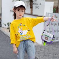 儿童T恤 女童长袖T恤2021新款春秋装小童中大童体恤衫洋气女孩套头卡通印花上衣打底衫