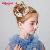 儿童皇冠头饰公主女童王冠水钻金色小孩生日发箍宝宝发饰圆形皇冠
