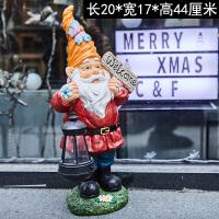 户外太阳能灯小夜灯花园庭院装饰欢迎牌圣诞老人树脂雕塑园艺摆件