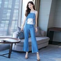 2019新款女装夏装时尚女神范喇叭裤气质阔腿裤套装洋气韩版两件套 图片色