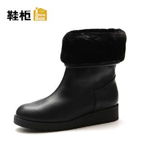 Daphne/达芙妮旗下鞋柜 秋冬款短靴女圆头加绒保暖舒适女短靴