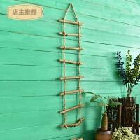 家用美式乡村天然木质麻绳楼梯松果咖啡馆服装店铺墙面装饰挂饰挂件SN9550