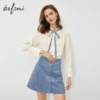 伊芙丽雪纺女衬衫2020新款春装打底时尚潮流女装气质半高领雪纺衫