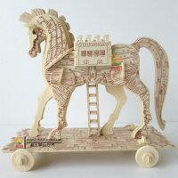 3D木质木制动物积木成人立体拼图 木头拼装模型智力玩具精工木马 益智成人3d拼图玩具木质立体拼图 智力手工拼装木制积木