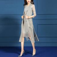 套装女夏2019新款时尚气质显瘦雪纺裙子两件装裙洋气减龄夏装 灰色