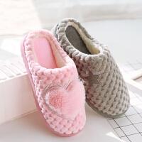棉拖鞋女可爱半包根居家室内厚底保暖情侣冬季韩版男加绒家用毛毛