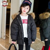 2018秋冬季新款外套儿童面包服连帽毛领韩版洋气女孩棉服外套潮