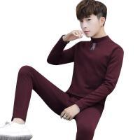 青年卫衣男初中学生加绒加厚运动套装男孩冬天保暖衣服套装内衣