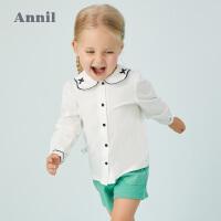 【活动价:84.5】安奈儿童装女小童衬衫娃娃领长袖2020新款洋气宝宝纯色百搭衬衣春