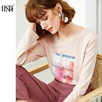 【2.5折到手价:118】osa欧莎粉色长袖t恤女印花打底衫洋气2020年春季新款时尚百搭上衣