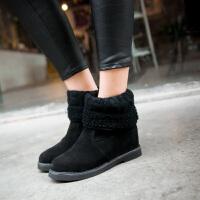 彼艾2017秋冬韩版内增高中筒靴低跟圆头靴百搭女靴坡跟短靴磨砂潮靴