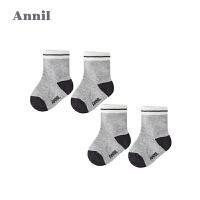 【活动价:48】安奈儿童装袜子男女童袜2019秋季新款婴儿袜两对装弹力中筒棉袜(14码)