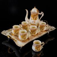陶瓷欧式茶具套装带托盘英式下午茶茶具茶杯咖啡杯水杯子套装家用 10件