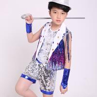 六一儿童演出服男童女童爵士舞服装幼儿园亮片表演服小学生舞蹈服 七彩爵士服男款 110cm